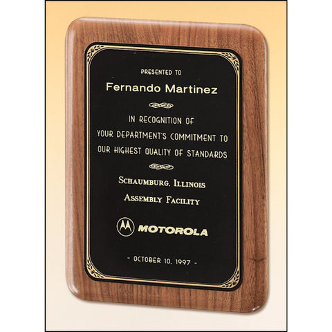 Solid American Walnut Plaque with Elliptical Edge and Black Brass Plate, 6 Sizes