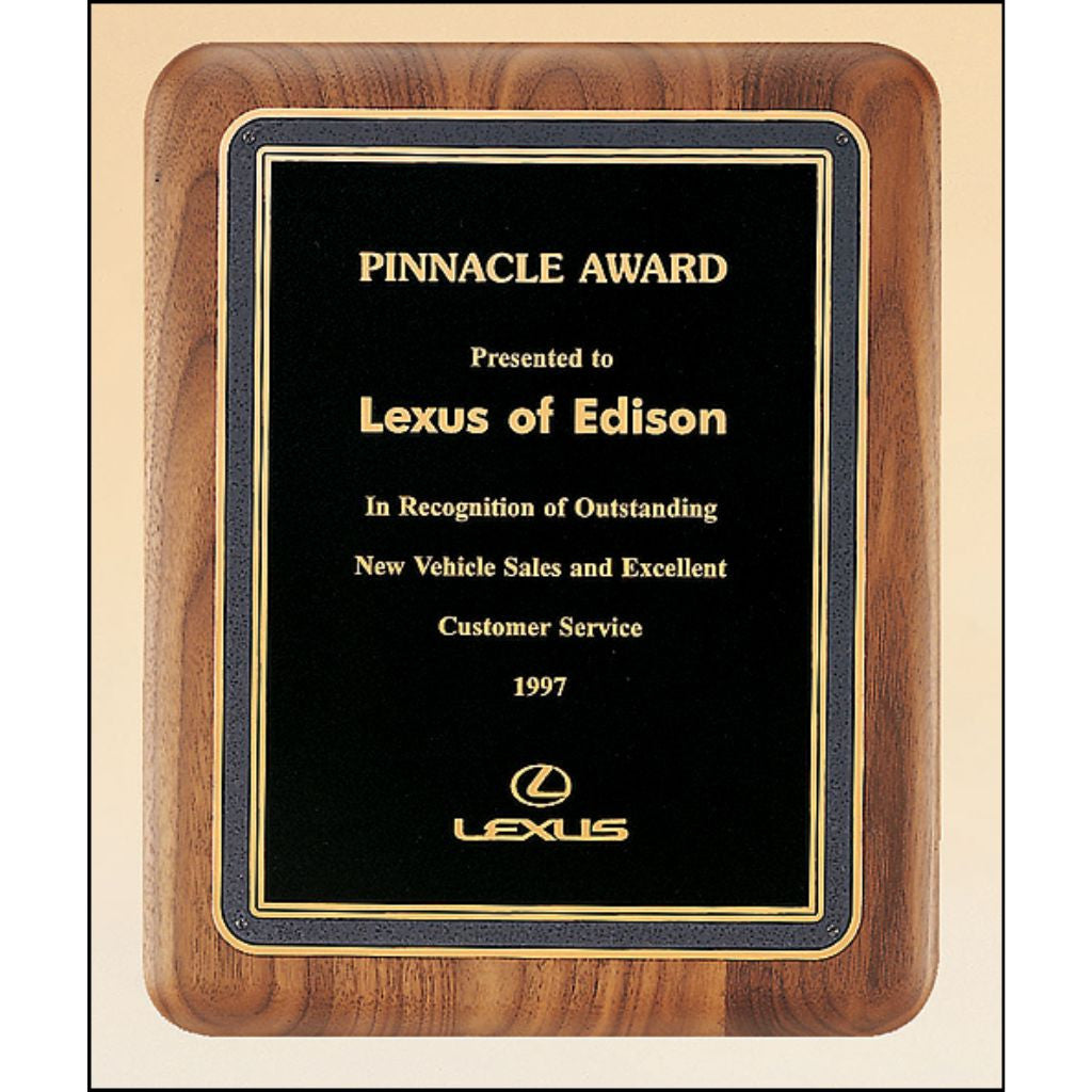 Solid American Walnut Plaque with Grey Bordered Black Brass Plate, Sales Award
