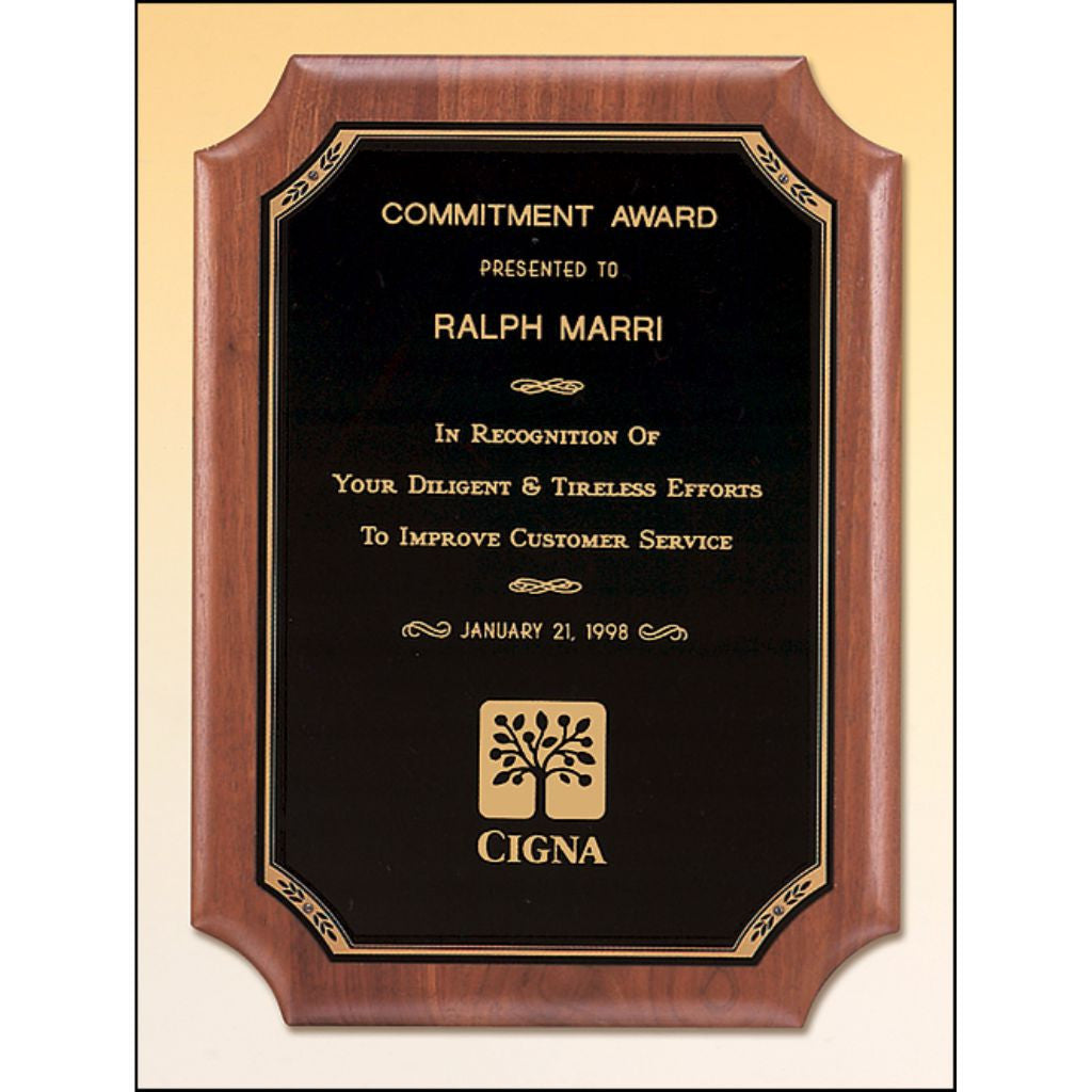 Solid American Walnut Plaque with Notched Elliptical Edge and Black Brass Plate, Service Award