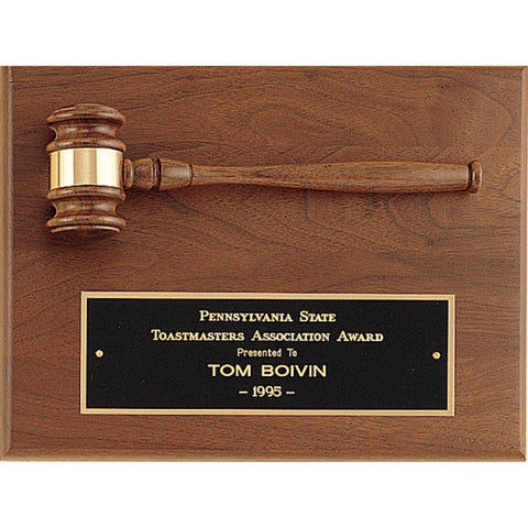 Solid American Walnut Plaque with Walnut Gavel