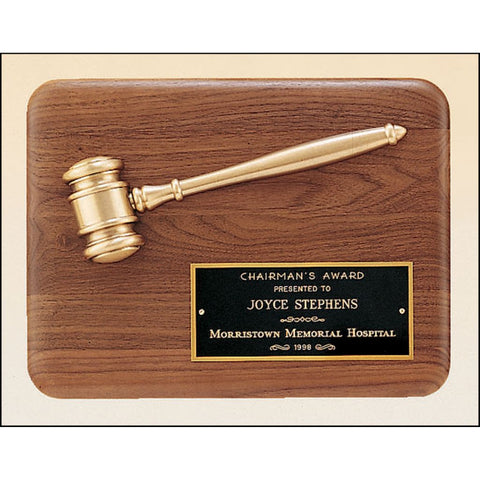 Solid American Walnut Plaque with an Antique Bronze Gavel Casting