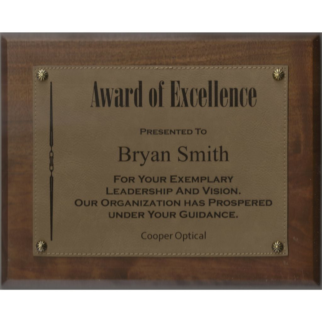 Solid Walnut Plaque with Light Brown Leatherette Plate, Excellence Award