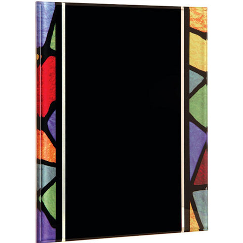 Acrylic plaque with printed stained glass pattern border, 9x12