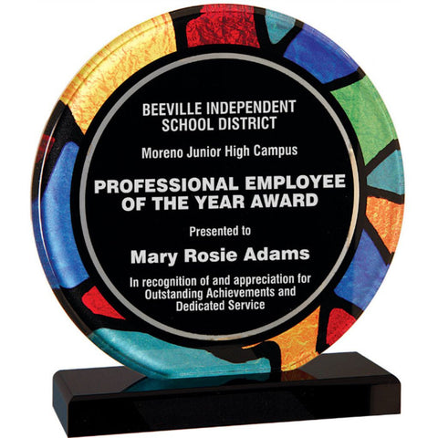 "Stained Glass Series, 3/8"" thick round acrylic with printed stained glass pattern border, 7 1/4"", Employee Award"