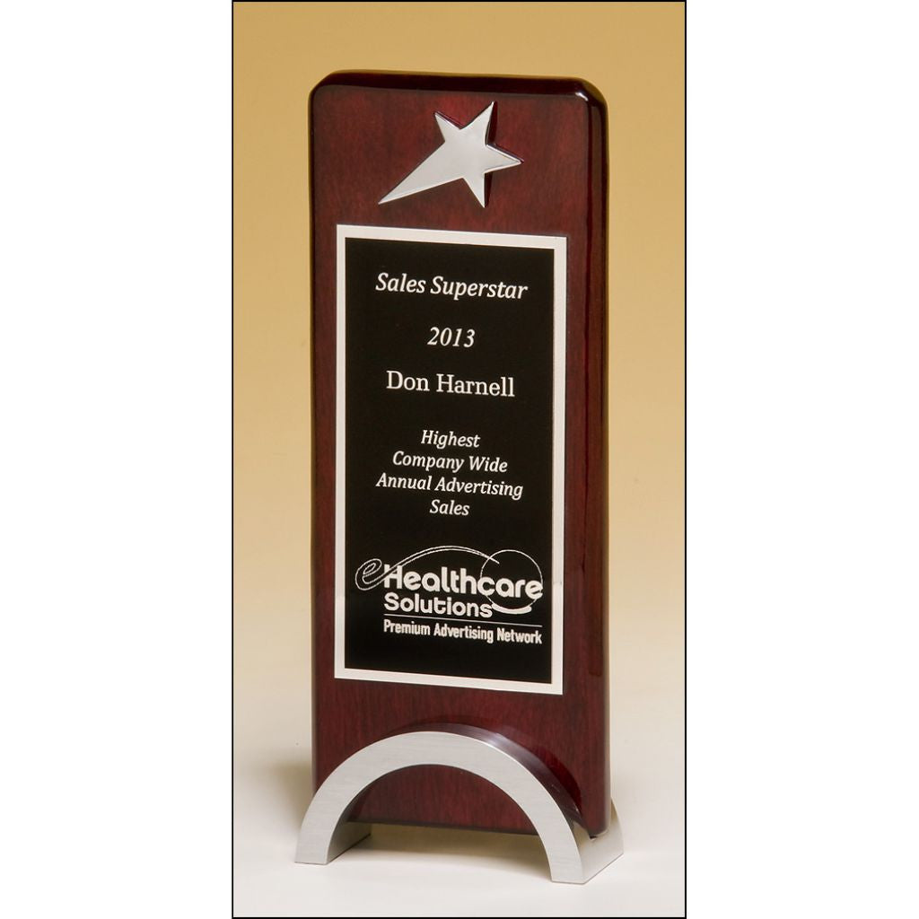 Star Chrome Plated on Rosewood Piano Finish Award, Sales Award