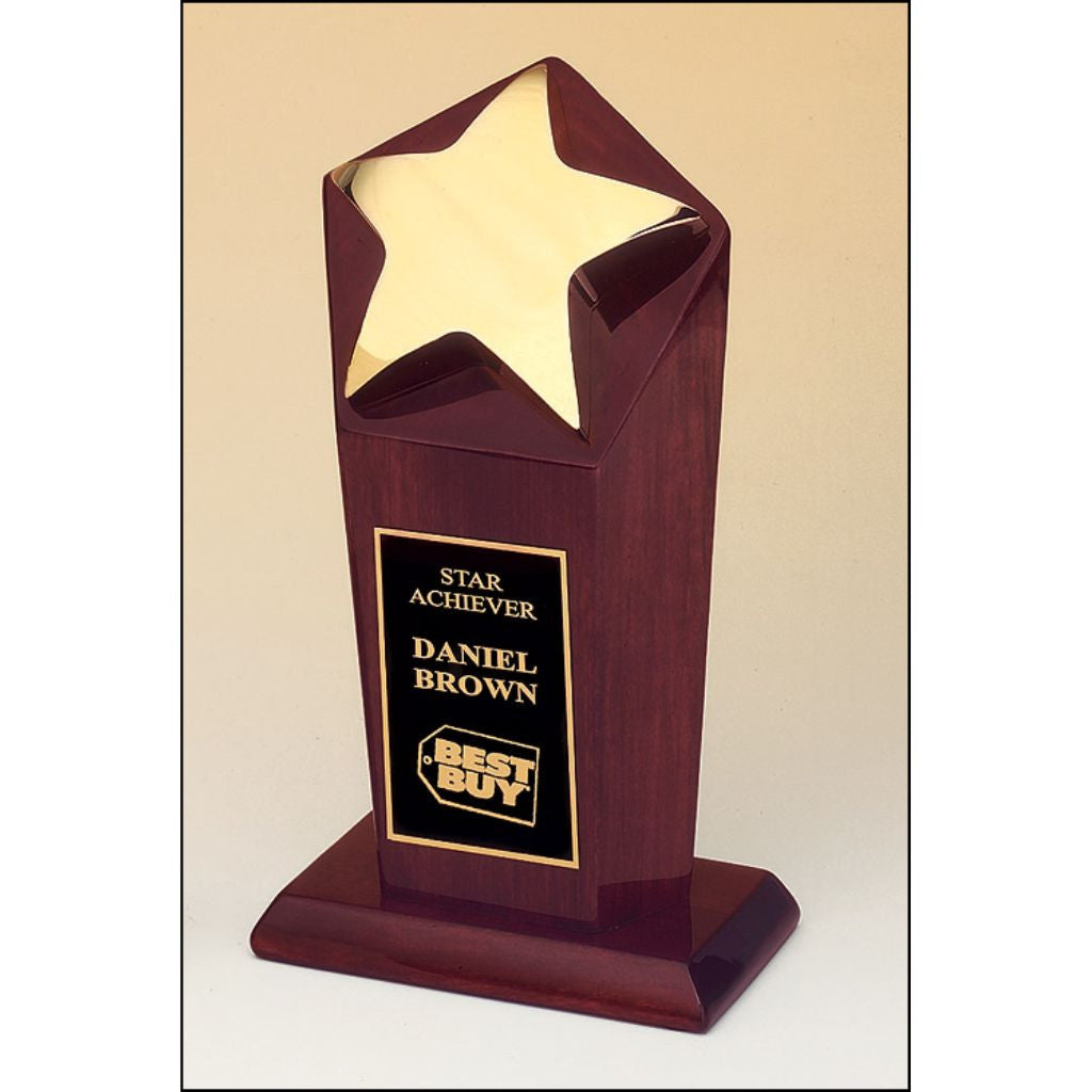 Star Goldtone Casting on Rosewood Stained Piano Finish Base, Achievement Award