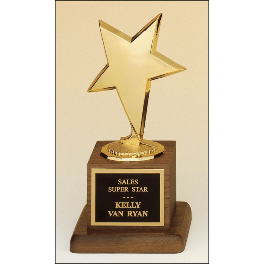Star Goldtone Modern Casting Figure on a Solid American Walnut Base, Sales Award