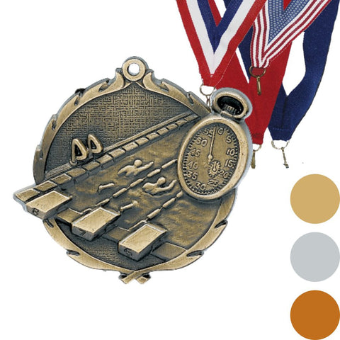 Swimming Wreath Medal, 2 1/2""
