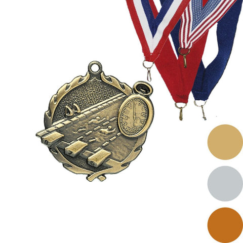 Swimming Wreath Medal, 1 3/4""