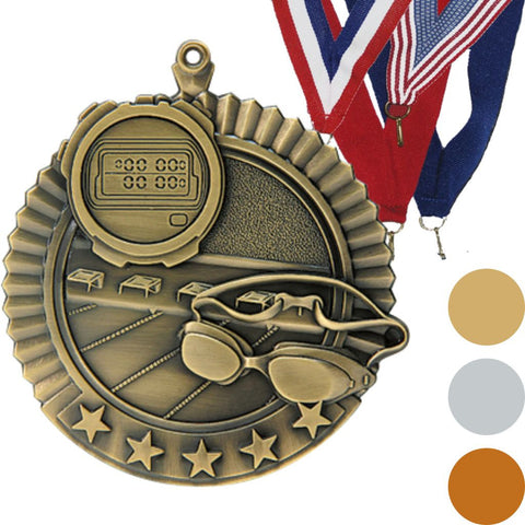 Swimming Star Medal, 2 3/4""