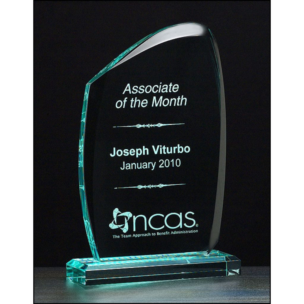 "Tidal Series, 3/4"" thick polished acrylic award on acrylic base, Employee Award"