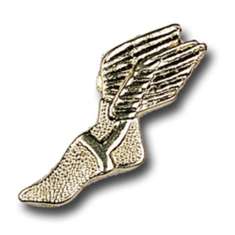 Track, Winged Shoe Metal Chenille Letter Insignia with Optional Display Case, Pack of 25