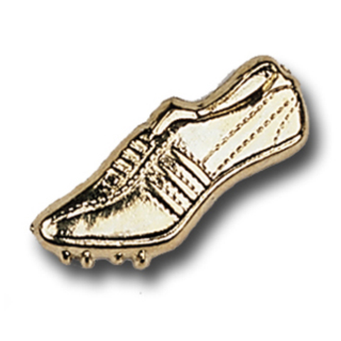 Track, Shoe with Cleats Metal Chenille Letter Insignia with Optional Display Case, Pack of 25
