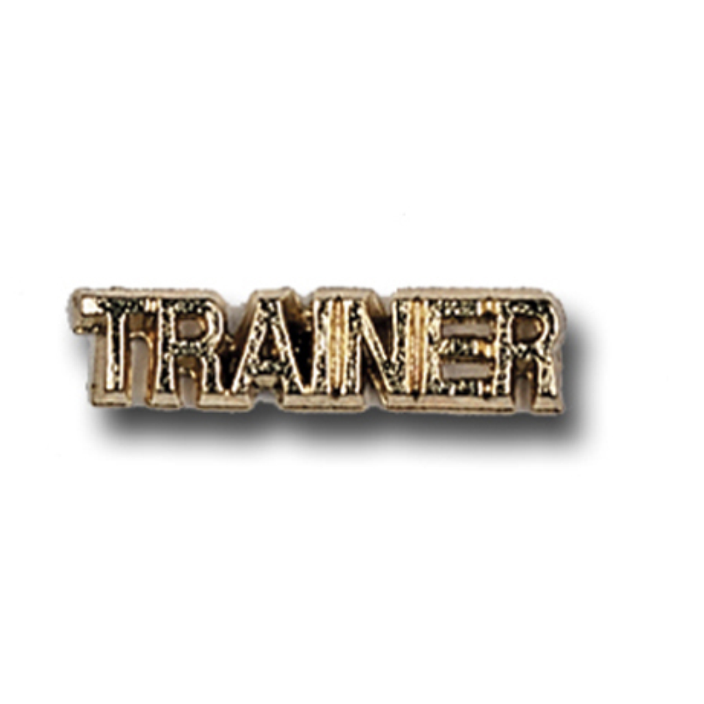 Trainer Metal Chenille Letter Insignia with Optional Display Case, Pack of 25