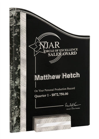 "SunRay Series, 3/8"" thick color marbled acrylic in aluminum block base in Black/Silver, 7"" x 10"", Sales Award"