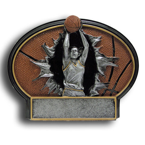Basketball, Female, Burst Thru Resin Trophy, 2 Sizes