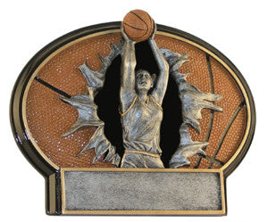 Basketball, Female, Burst Thru Resin, 7 1/4""