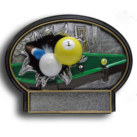 Billiards Burst Thru Resin Trophy