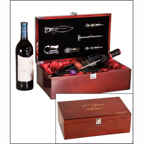 Wine Set Holds Two Bottles in a Laser Engraved Rosewood Finish Box