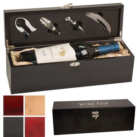 Wine Set in a Laser Engraved Box with Choice of Wood