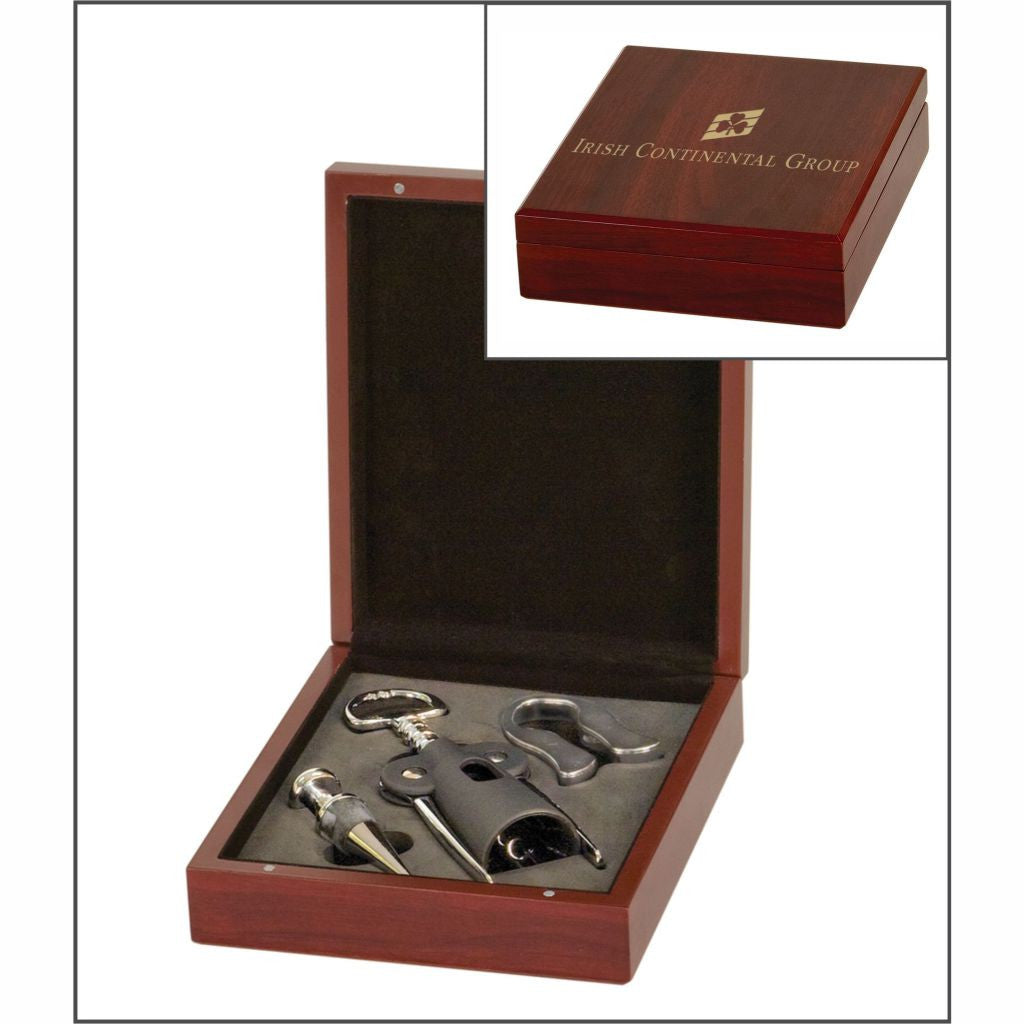 Wine Tool Set, 3 Pieces in a Laser Engraved Rosewood Finish Box
