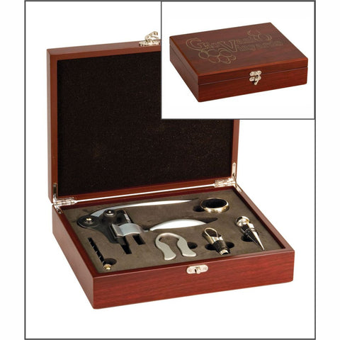Wine Tool Set, 5 Pieces in a Laser Engraved Rosewood Finish Box