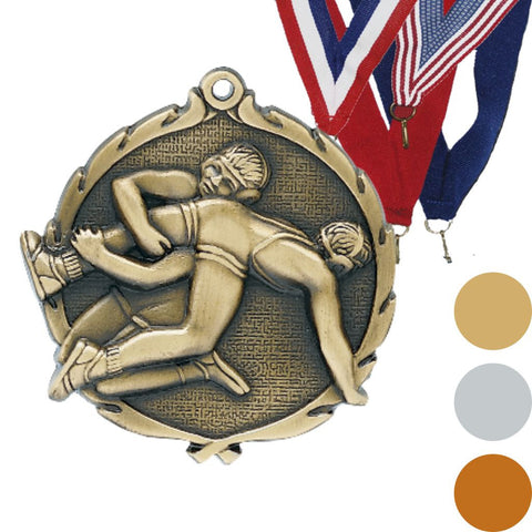 Wrestling Wreath Medal, 2 1/2""