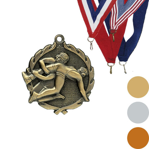 Wrestling Wreath Medal, 1 3/4""
