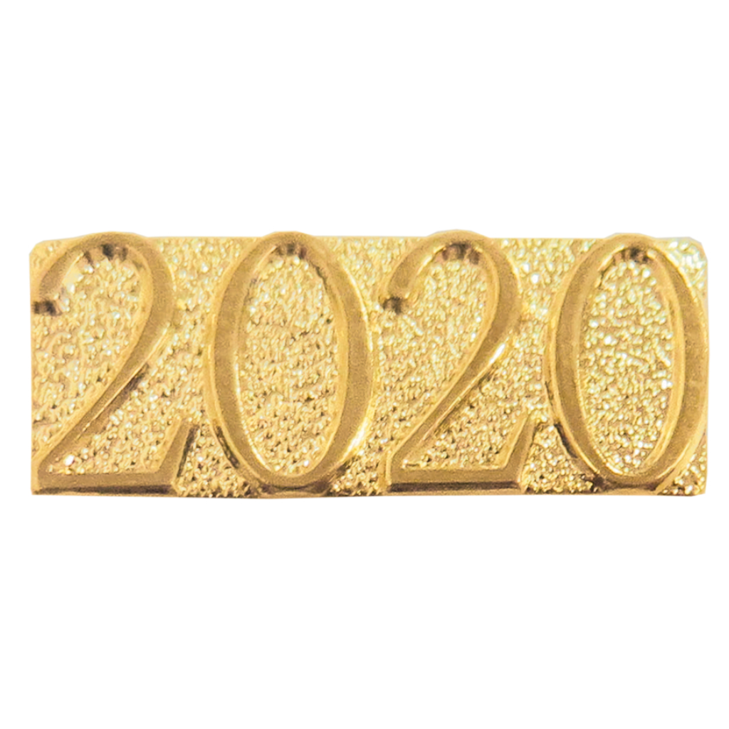 Year 2020 Metal Chenille Letter Insignia with Optional Display Case, Pack of 25