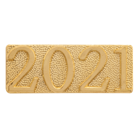 Year 2021 Metal Chenille Letter Insignia with Optional Display Case, Pack of 25