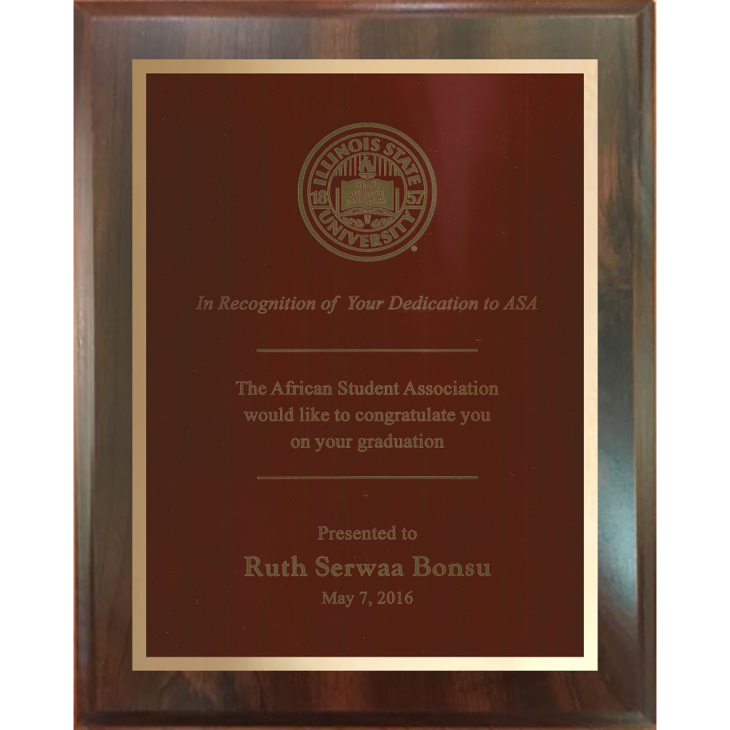 Cherry Finish Plaque with Colored Brass and Gold Shadow Plates, 5 Sizes