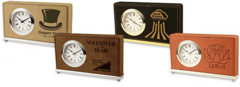 Leatherette Horizontal Desk Clock Collection