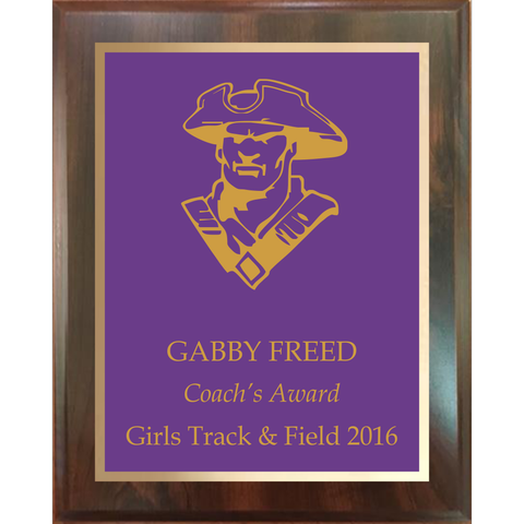 Cherry Finish Plaque with Colored Brass and Gold Shadow Plates, 5 Sizes, 5 Plate Colors
