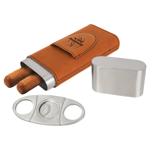 Rawhide Leatherette Cigar Case with Cutter