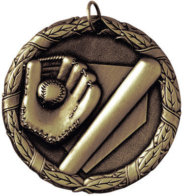 "Baseball Mitt & Bat XR Medal, 2"" in gold"