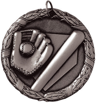 "Baseball Mitt & Bat XR Medal, 2"" in silver"