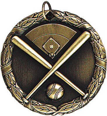 "Baseball Crossed Bats XR Medal, 2"" in gold"