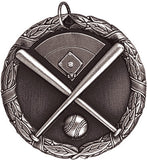 "Baseball Crossed Bats XR Medal, 2"" in silver"