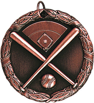 "Baseball Crossed Bats XR Medal, 2"" in bronze"