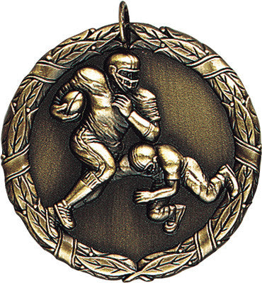 "Football XR Medal, 2"" in gold"