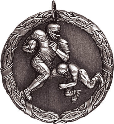 "Football XR Medal, 2"" in silver"