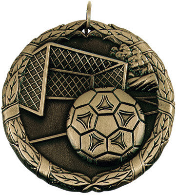 "Soccer Ball & Net XR Medal, 2"" in gold"