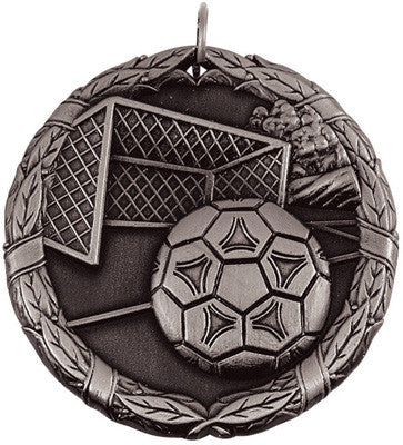 "Soccer Ball & Net XR Medal, 2"" in silver"