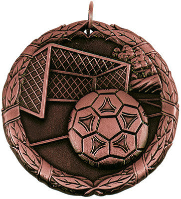 "Soccer Ball & Net XR Medal, 2"" in bronze"