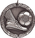 "Soccer Ball & Foot XR Medal, 2"" in silver"