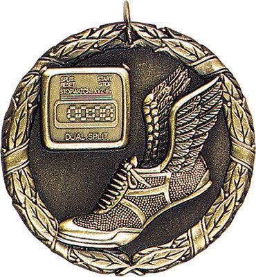 "Track XR Medal, 2"" in gold"