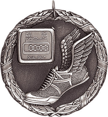 "Track XR Medal, 2"" in silver"