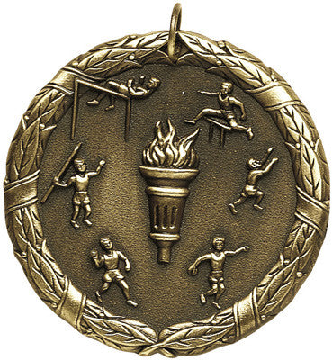 "Track & Field XR Medal, 2"" in gold"