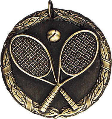 "Tennis XR Medal, 2"" in gold"