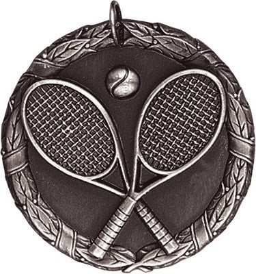 "Tennis XR Medal, 2"" in silver"